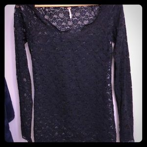 Large free people long sleeve lace top
